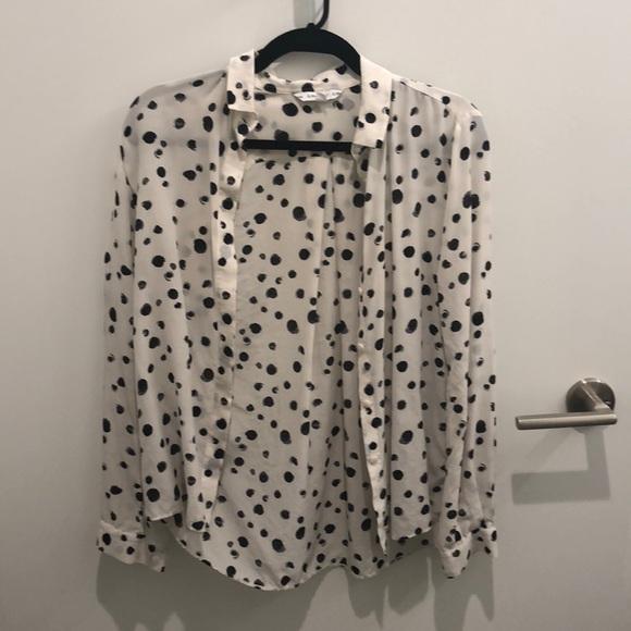 e9fd1ea1c53619 & Other Stories Tops   Other Stories Dalmatian Print Silk Shirt ...